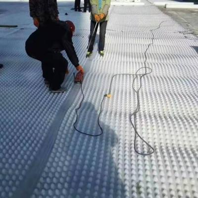 白色蓄排水板铺设现场